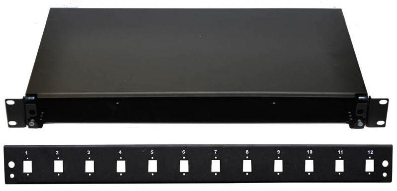 """19"""" Optická vana 12xSC simplex včetně kazety černá, aretace výsuvu šroubem"""