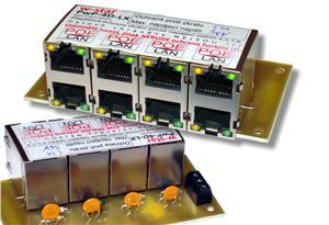 4portový napáj. panel s ochranou proti přepětí 60V, 100Mbit