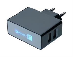 POWER CHARGER se dvěma USB porty 2.1 A/ 1 A černý