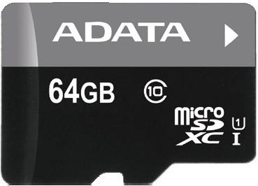 ADATA 64GB MicroSDXC Premier, class10 with Adapter