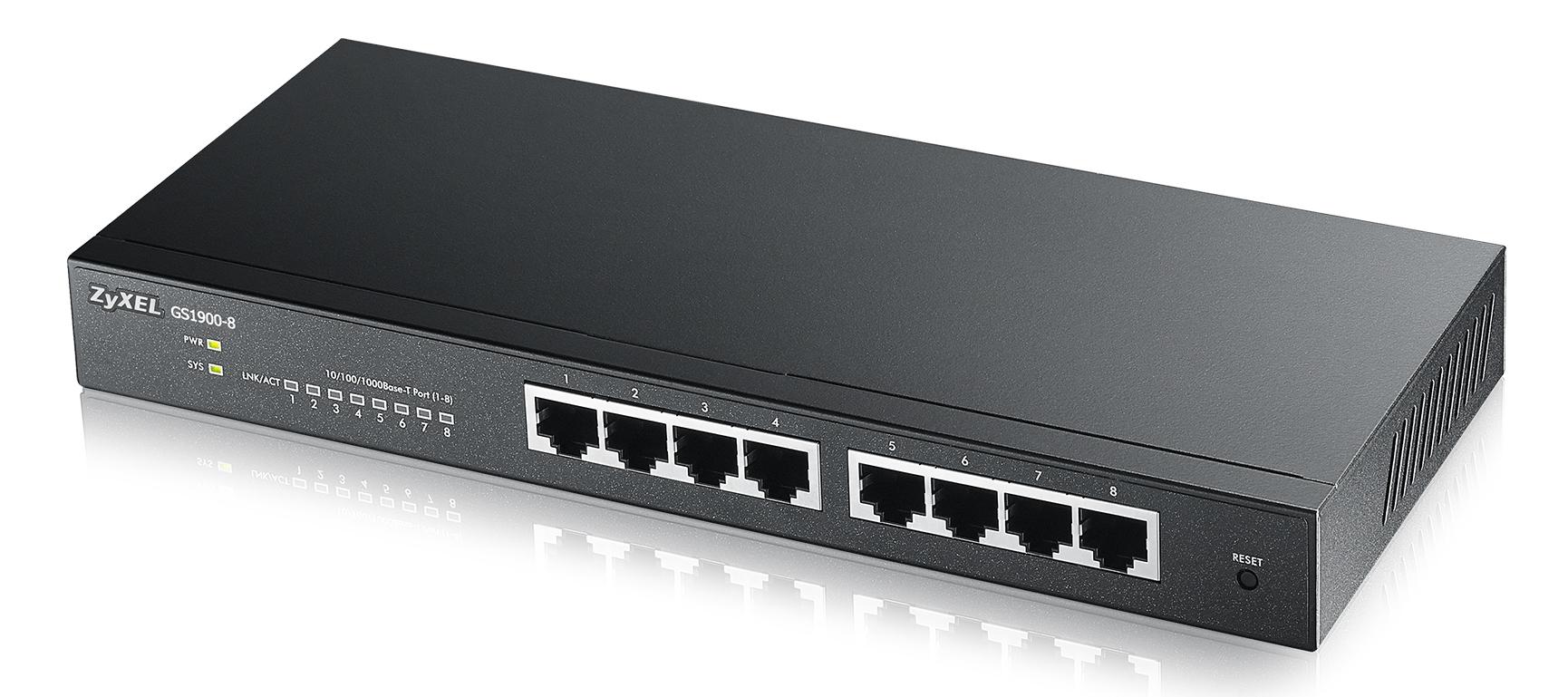 ZyXEL 8xGb IPv6 fanless switch GS1900-8