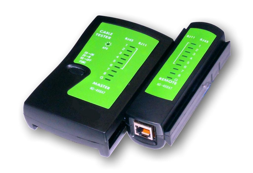UTP kabel tester RJ11, RJ45-indikace LED diody, čern