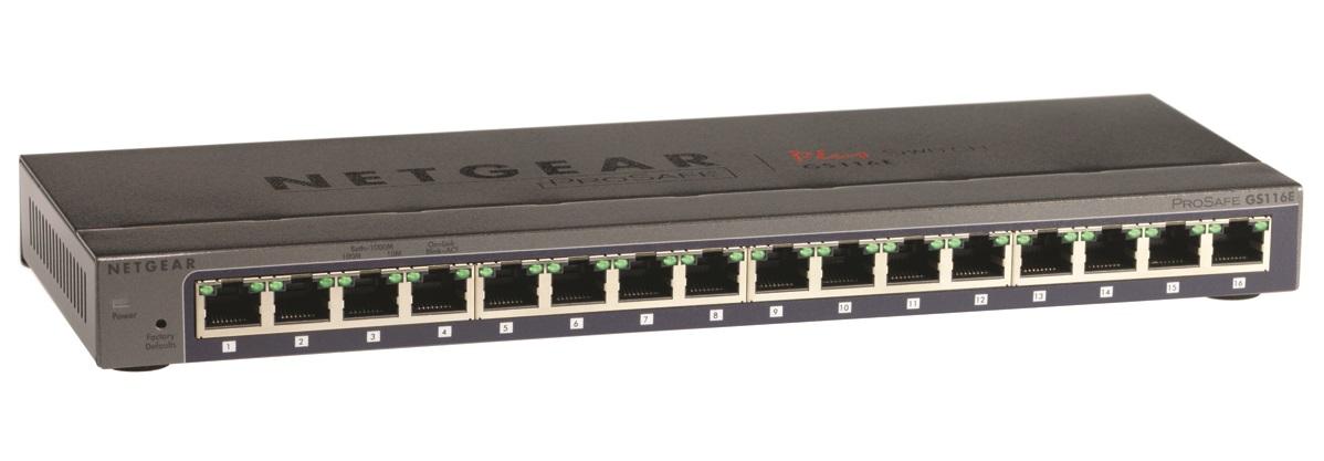 NETGEAR 16-port Gigabit Smart Managed Plus Switch, GS116E
