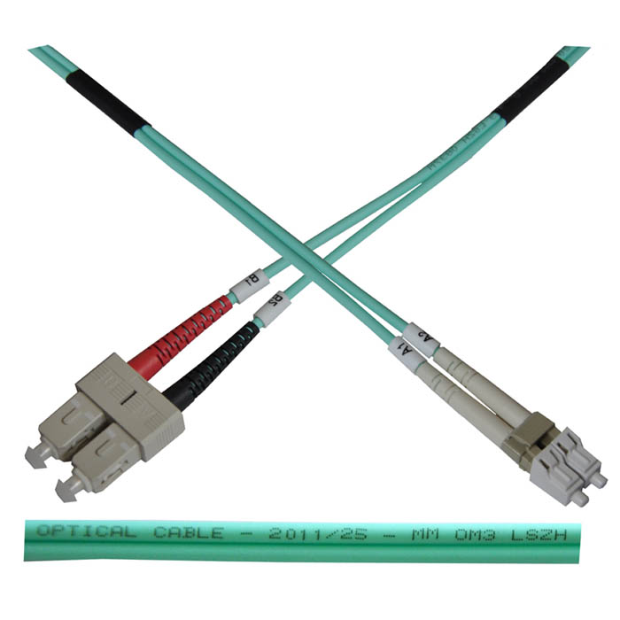 Optický patch kabel duplex LC-ST 50/ 125 MM 10m OM3
