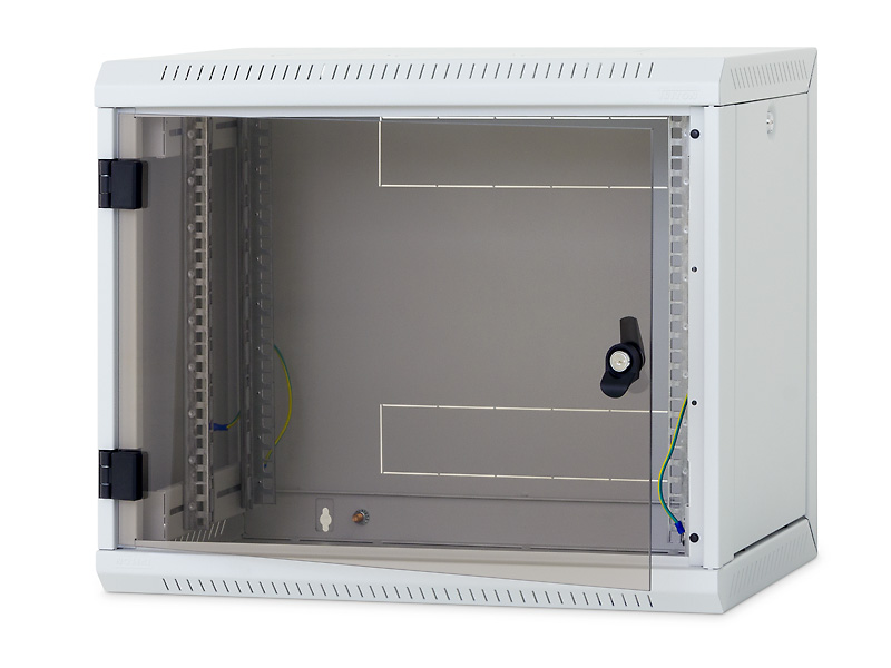 Nástěnný rack RUA 9U/ 400mm odn.boč+skl.dv.