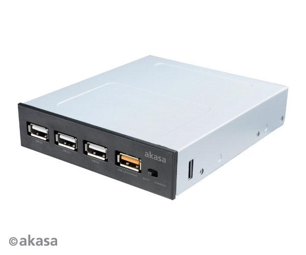 AKASA USB nabíjecí panel 3x USB 2.0 + 1x USB fast