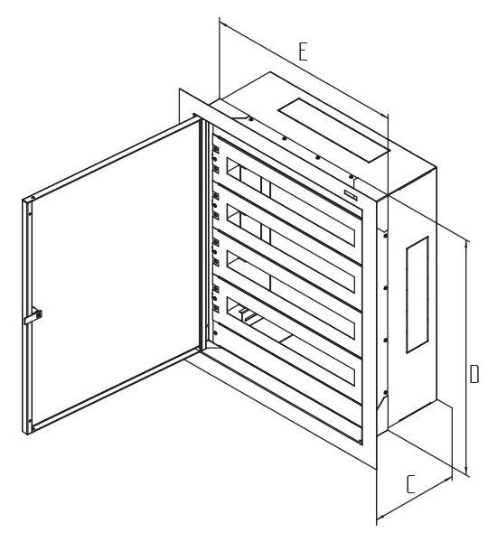 Rozvaděč instalační podomítkový 1170x860x250 plech