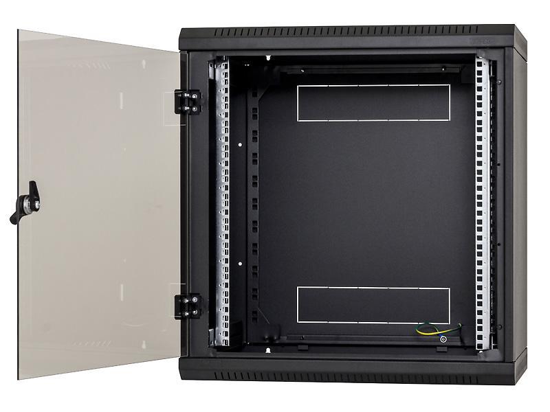 Nástěn.rack jednodílný 18U/ 495mm plech.dveře černý