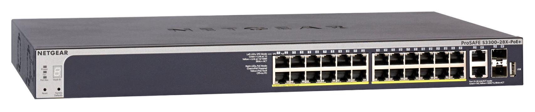 NETGEAR S3300 28PT STKBL POE SMART SW W/ 10G