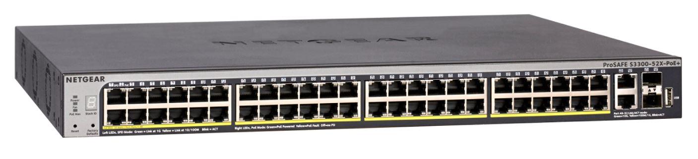 NETGEAR S3300 52PT STKBL POE SMART SW W/ 10G