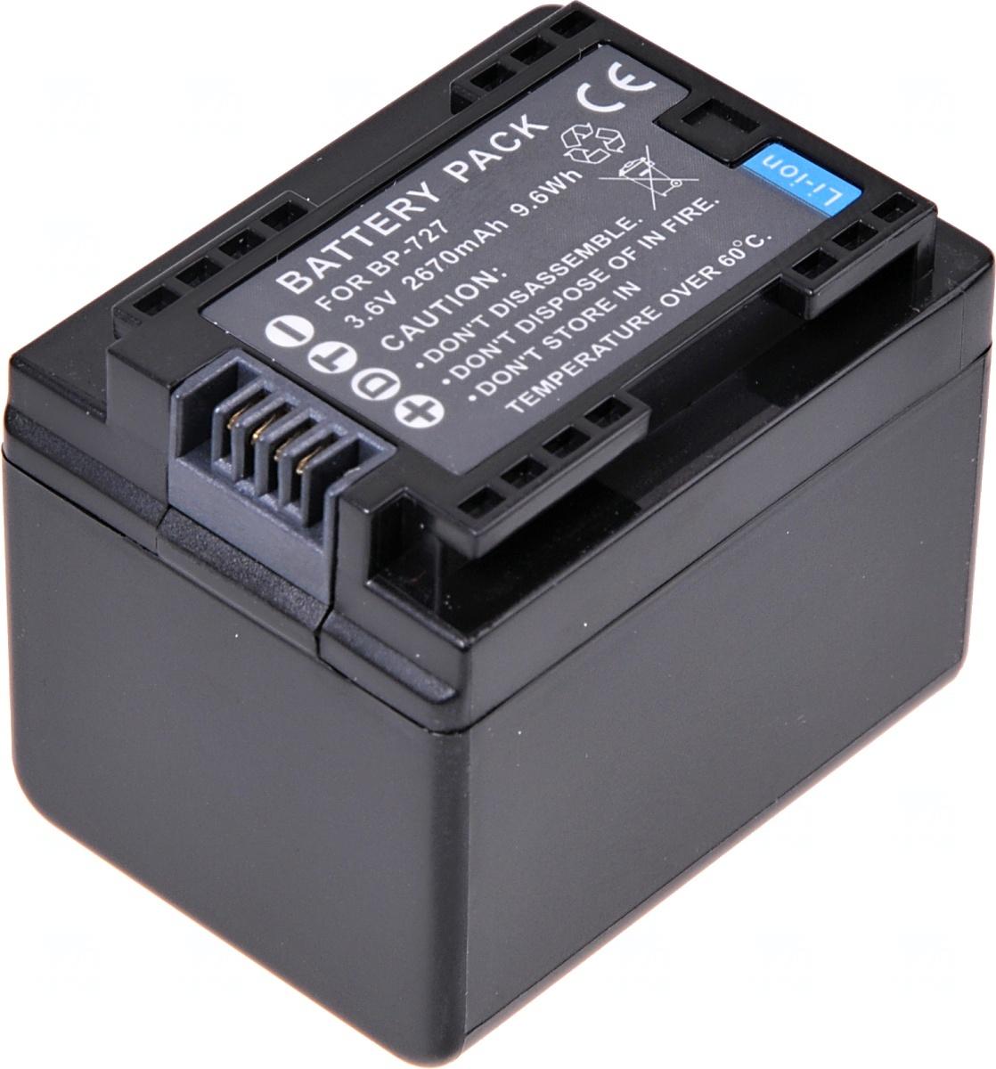 Baterie T6 power Canon BP-727, 2400mAh, 8, 6Wh, černá