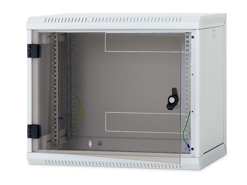 Nástěnný rack RUA 12U/ 500mm odn.boč+skl.dv.černý