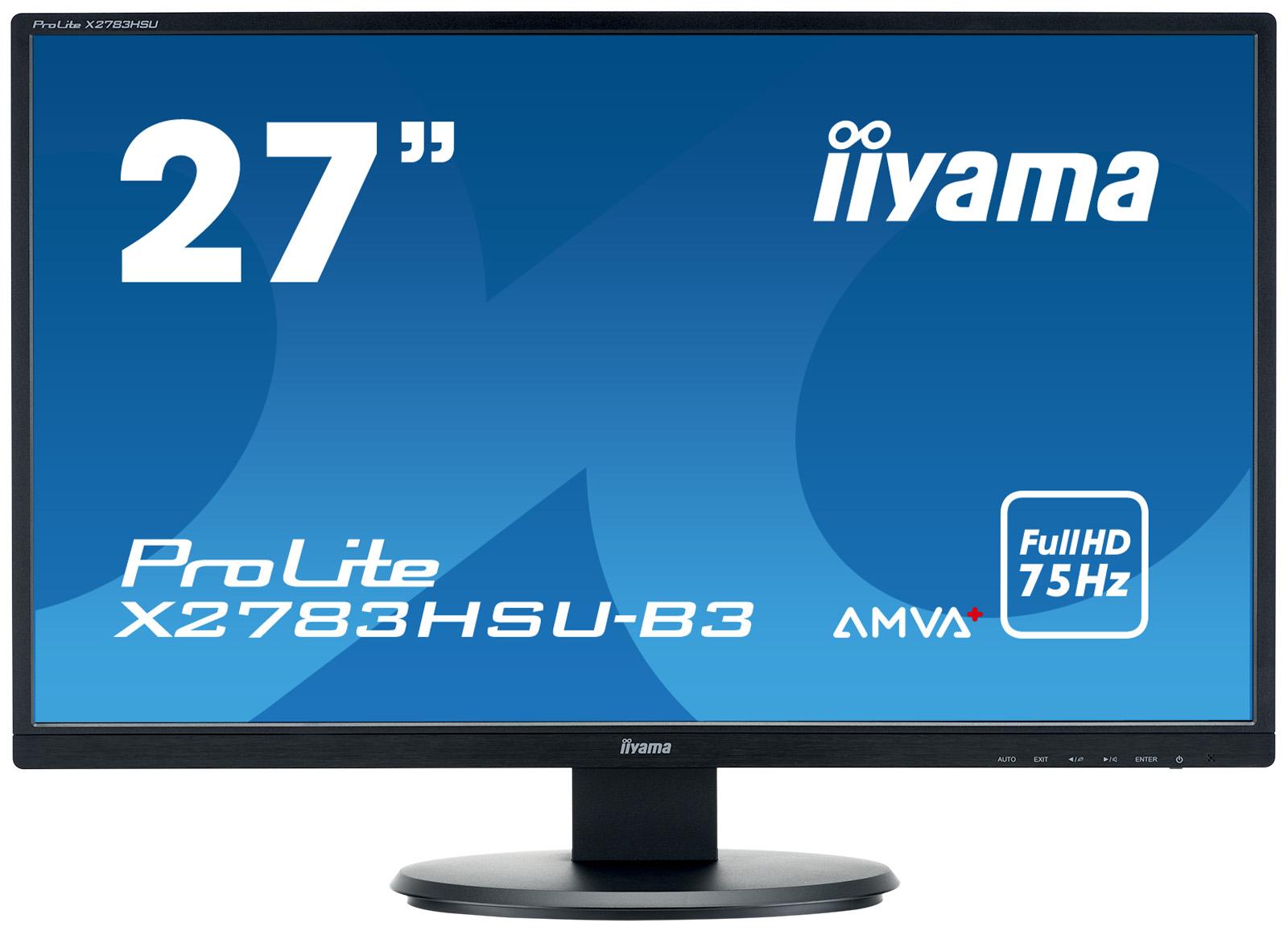 """27"""" LCD iiyama X2783HSU-B3 - AMVA+, 4ms, 300cd/ m2, 3000:1, FullHD, VGA, DP, HDMI, USB, repro"""
