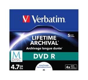 VERBATIM DVD R 4, 7 GB (120min) M-Disc 4x Printable jewel box, 5ks/ pack
