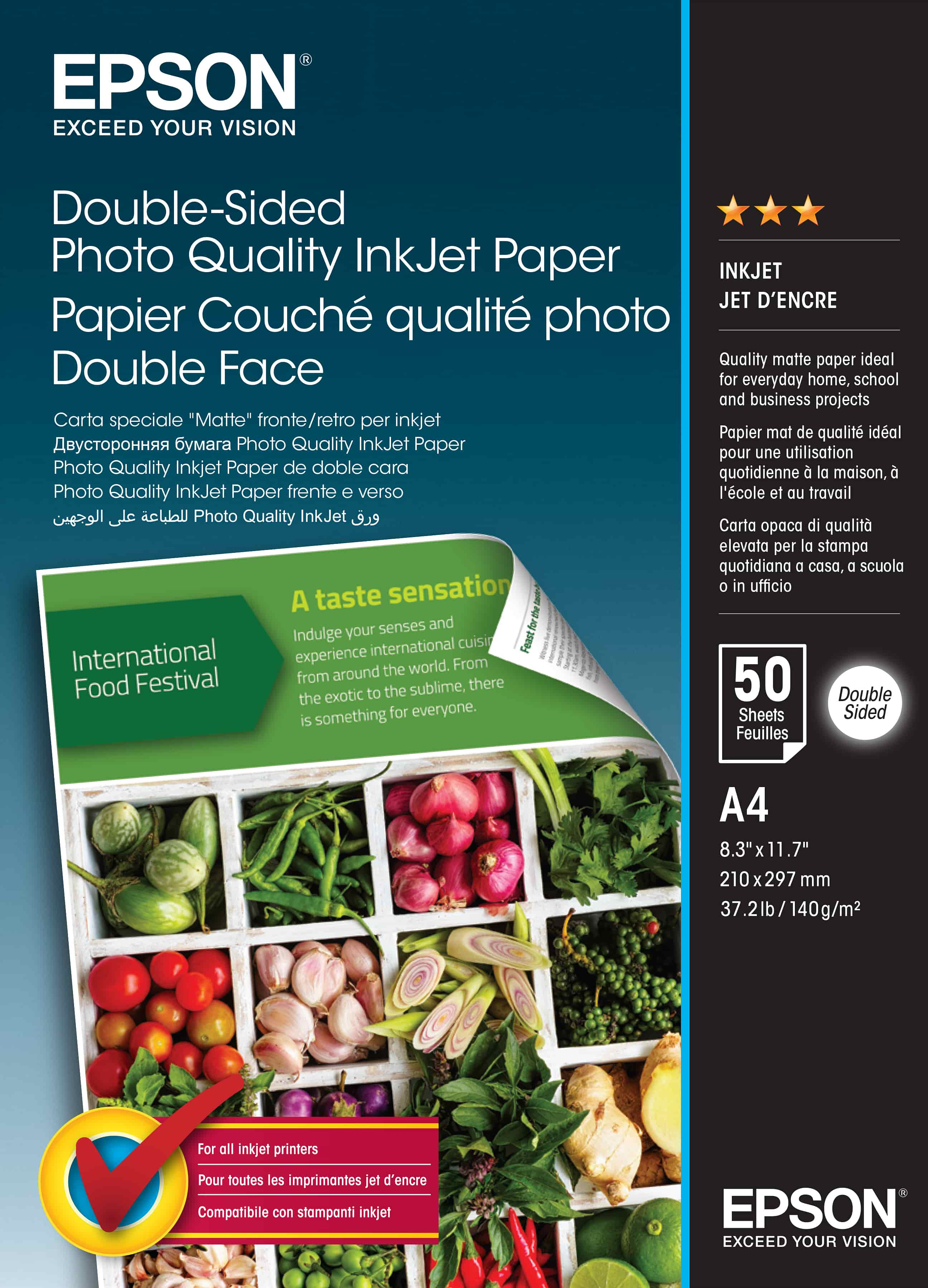 Double-Sided Photo Quality Inkjet Paper, A4, 50 sheets