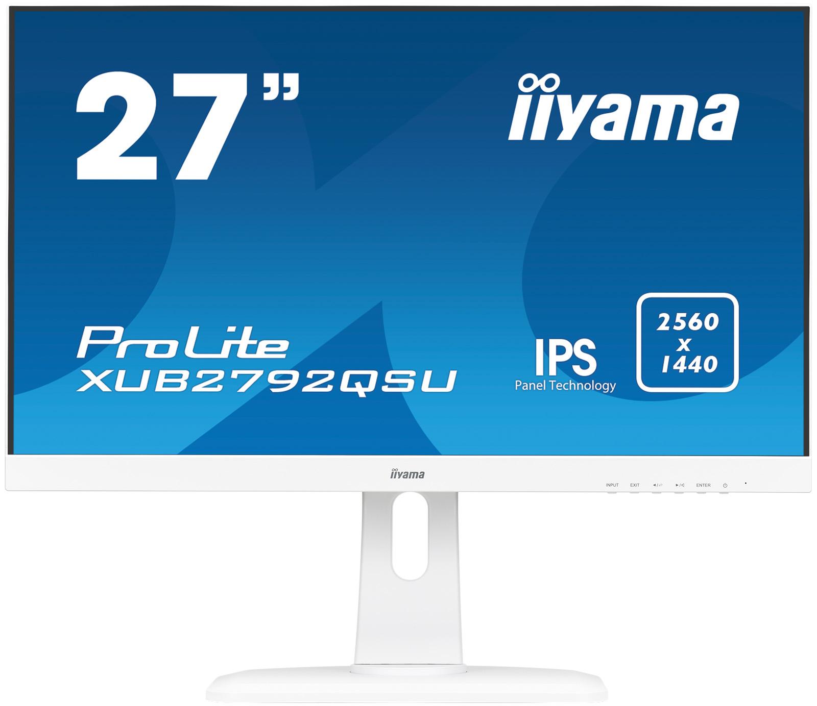 "27"" iiyama XUB2792QSU-W1 - IPS, WQHD, 5ms, 350cd/ m2, 1000:1, 16:9, DVI, HDMI, DP, USB, repro,"