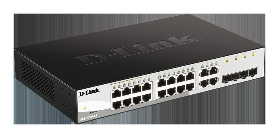 D-Link DGS-1210-16 Smart switch, 16x GbE, 4x RJ45/ SFP, fanless