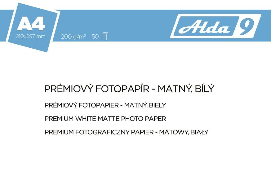 ALDA9 Fotopapír A4 200 g/ m2, prem. matný, 50listů