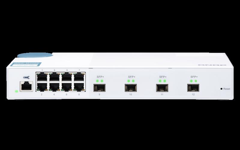 QNAP řízený switch QSW-M408S (12portů: 8x Gigabit port + 4x 10G SFP+ porty)