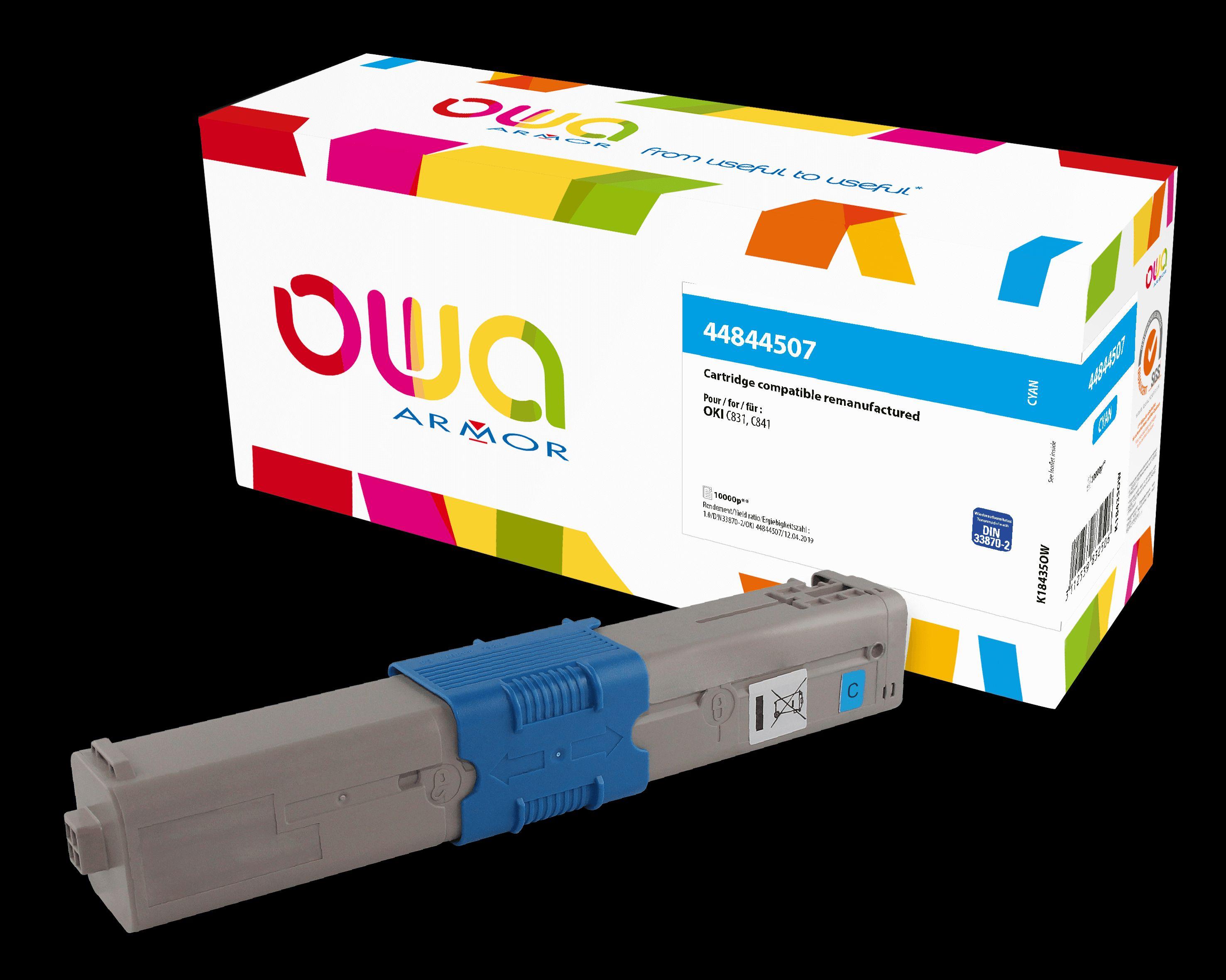 OWA Armor toner pro OKI 44844507, modrá/ cyan