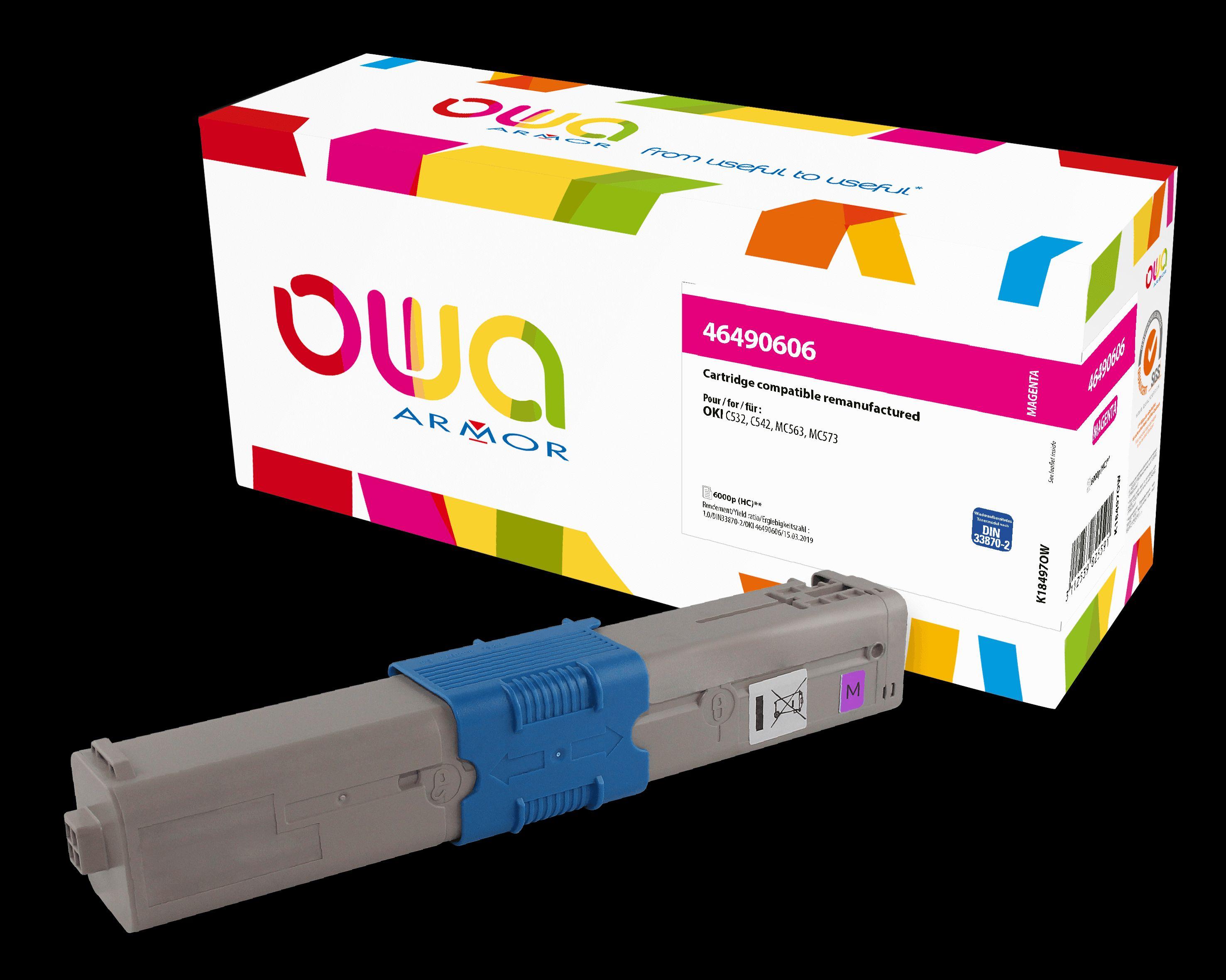 OWA Armor toner pro OKI 46490606, červená/ magenta