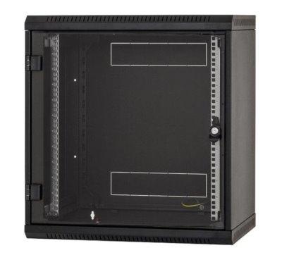 Nástěnný rack RUA 9U/ 600mm odn.boč+skl.dv.černý