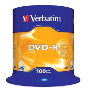 VERBATIM DVD-R(100-Pack)Spindl/ MattSlvr/ 16x/ 4.7GB