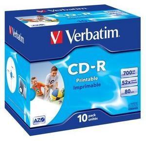 VERBATIM CD-R(10-Pack)Jewel/ Printable/ 52x/ 700MB
